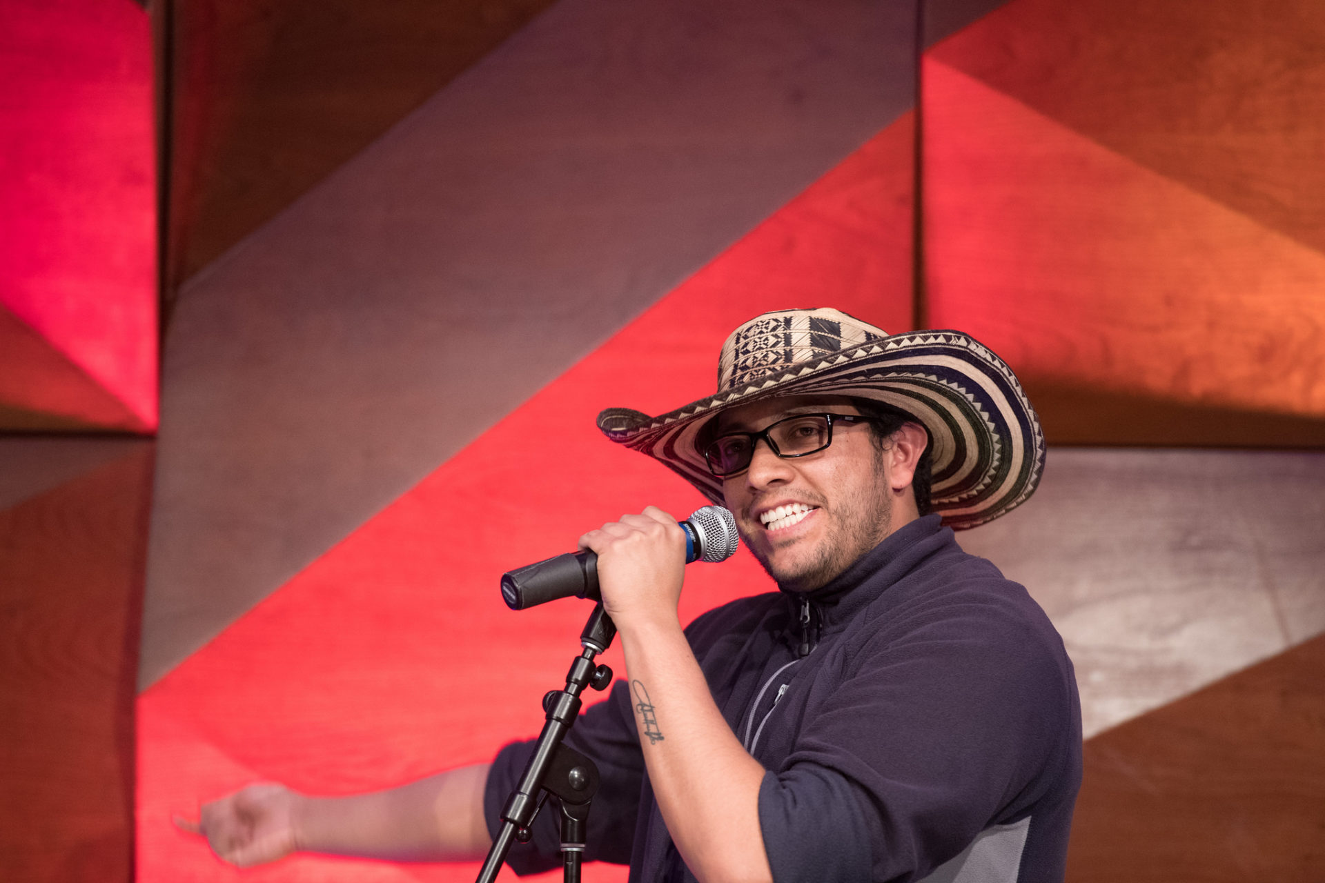 announcer in a cowboy hat
