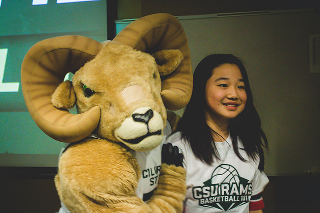 cam the ram mascot with a woman