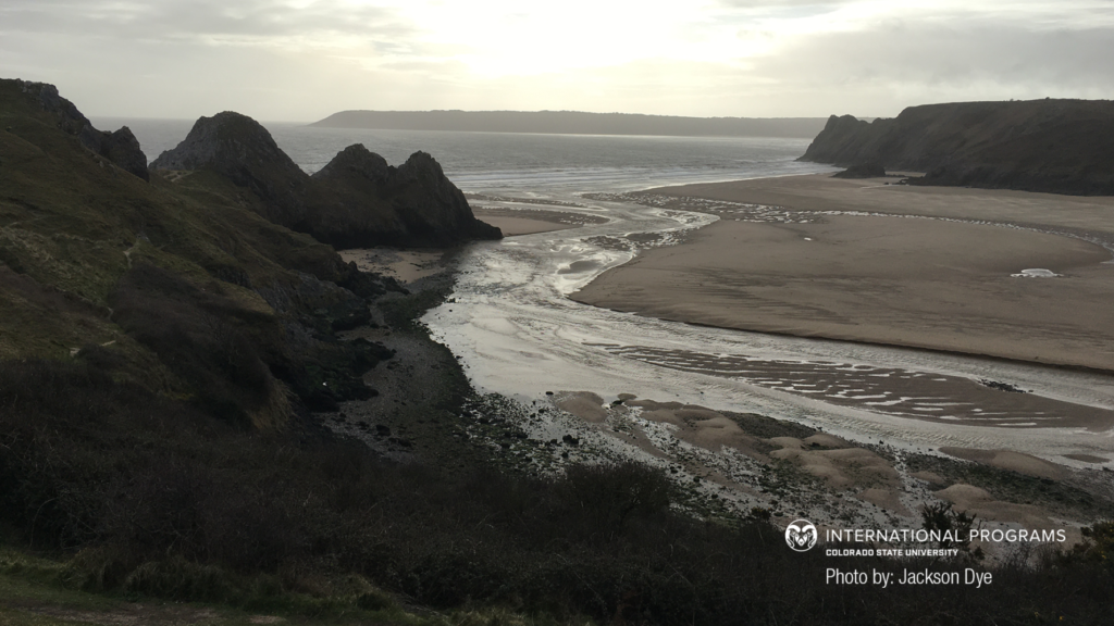 Three cliffs at Swansea, Wales, UK, zoom background